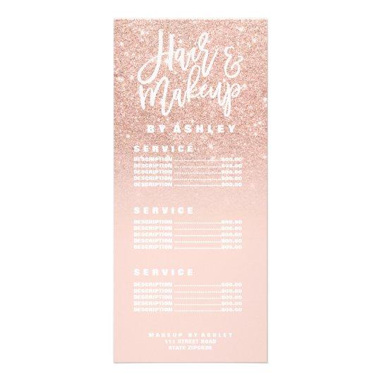 Hair makeup typography blush rose gold price list