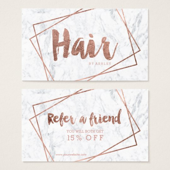 Hair referral modern rose gold typography marble business
