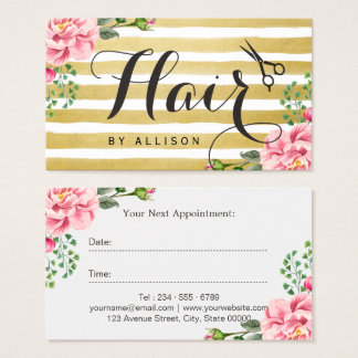 Hair Salon Appointment Card Trendy Gold Stripes