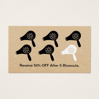 Hair Salon Blow Dry Bar Modern Hairstylist Loyalty Business Card