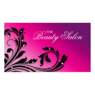 Hair Salon Business Card Beauty Leaves Pink Purple