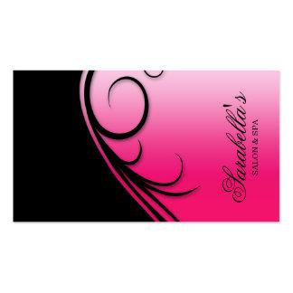 Hair Salon Business Card Swirl Pink Black