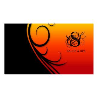 Hair Salon Business Card Swirl Red Black Orange