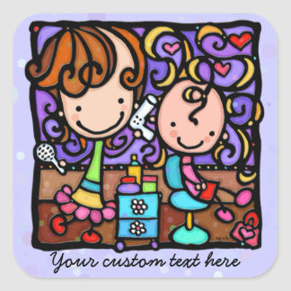 Hair Salon children's kids haircuts Square Sticker
