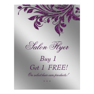 Hair Salon Flyer Sale Zebra Sparkle Purple Silver