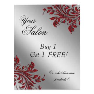 Hair Salon Flyer Sale Zebra Sparkle Red Silver
