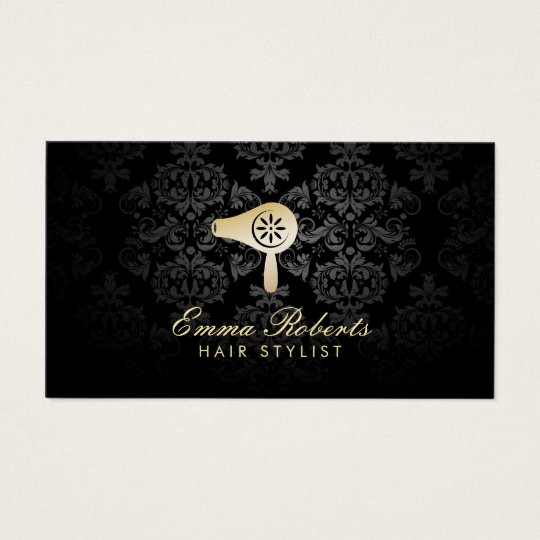 Hair Salon Gold Blow Dryer Logo Elegant Damask Business Card