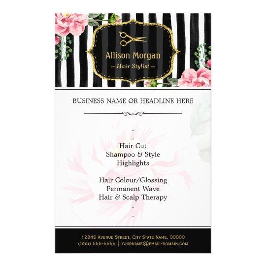 Hair Salon Gold Glitter Black White Floral Flyer