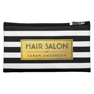 HAIR SALON - Gold Label and Black White Stripes Cosmetic Bags