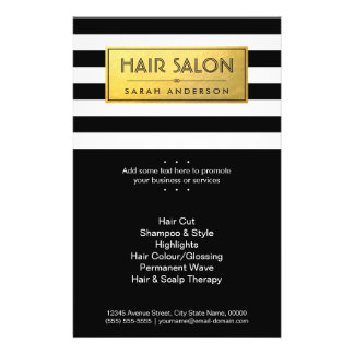 HAIR SALON - Gold Label and Black White Stripes Flyer
