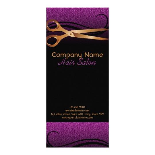 Hair salon gold scissors and purple design rack