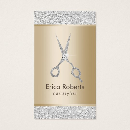 Hair Salon Luxury Silver Glitter Hairstylist Business Card