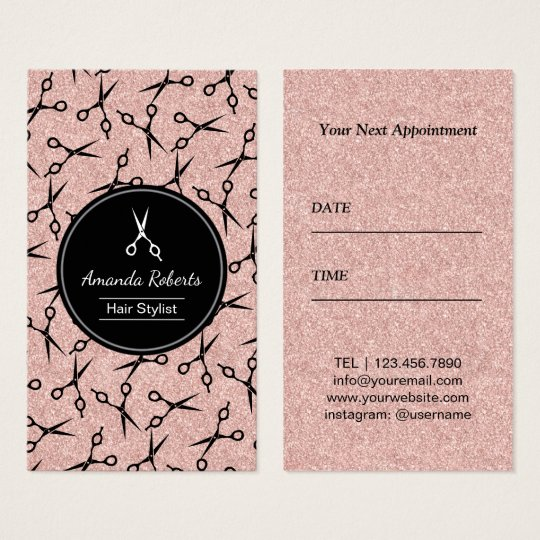 Hair Salon Modern Scissor Rose Gold Appointment Business