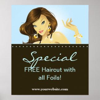 Hair Salon Posters Pretty Woman Blue Jewellery