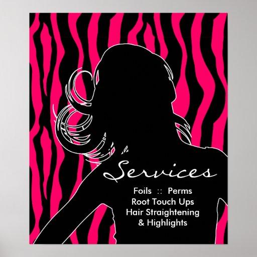 Hair Salon Posters Woman Pink Zebra