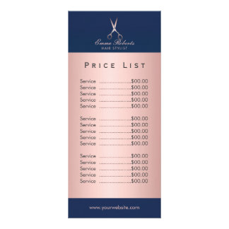 Hair Salon Rose Gold Scissor Navy Blue Price List Rack Card