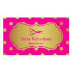 Hair Salon Stylist - Charming Hot Pink Gold Dots Pack Of Standard Business Cards