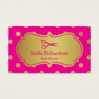 Hair Salon Stylist - Charming Hot Pink Gold Dots Business Card