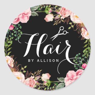 Hair Salon Stylist Typography Floral Wrapping Round Sticker