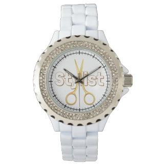 Hair Stylist and Scissors - Rhinestone Wrist Watch