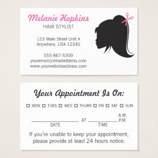 Hair Stylist Appointment Silhouette Business Card