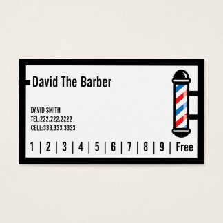 Hair Stylist Barber Simple Border Loyalty Punch Business Card