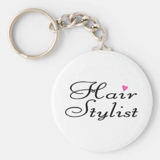 Hair Stylist Basic Round Button Key Ring