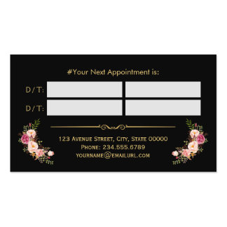 Hair Stylist Beauty Salon Gold Floral Appointment Pack Of Standard Business Cards