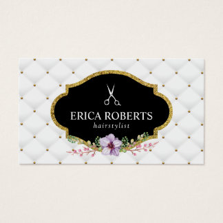 Hair Stylist Beauty Salon Luxury Quilted Floral Business Card