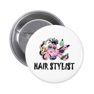 Hair Stylist Black and Pink Octopus 6 Cm Round Badge