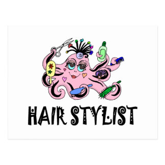 Hair Stylist Black and Pink Octopus Postcard