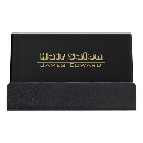Hair Stylist Black Gold Classic Modern CUSTOM Desk Business Card Holder
