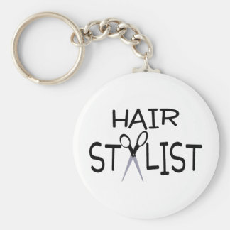 Hair Stylist Black With Scissors Basic Round Button Key Ring
