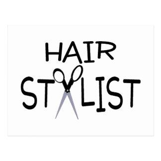 Hair Stylist Black With Scissors Post Card