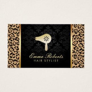 Hair Stylist Blow Dryer Logo Modern Leopard Print Business Card