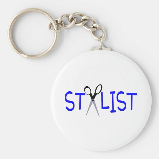 Hair Stylist Blue with Scissors Basic Round Button Key Ring