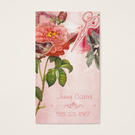 Hair Stylist Business Card Grunge Floral Pink