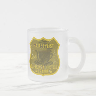 Hair Stylist Caffeine Addiction League Frosted Glass Mug