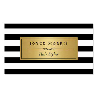 Hair Stylist - Classic Black White Stripes Pack Of Standard Business Cards