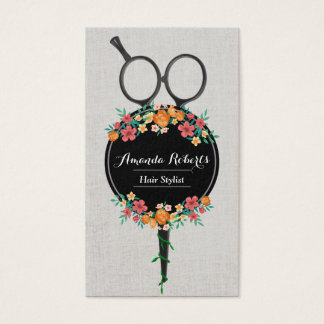 Hair Stylist Classy Scissor & Flowers Appointment Business Card