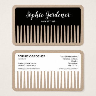 Black hair comb business cards business card printing zazzle uk hair stylist comb black and white kraft business card colourmoves