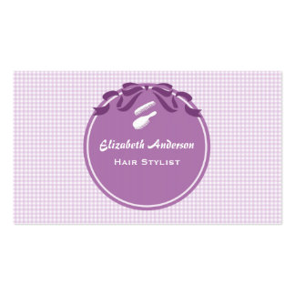 Hair Stylist Country Style Purple Gingham and Bow Pack Of Standard Business Cards