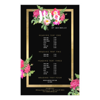 Hair Stylist Floral Script Text Black Flyer