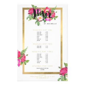 Hair Stylist Floral Script Text White Flyer