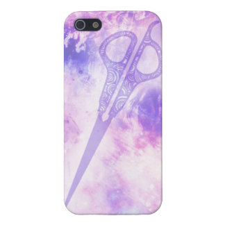 Hair stylist galaxy shears scissors case purple iPhone 5/5S cover