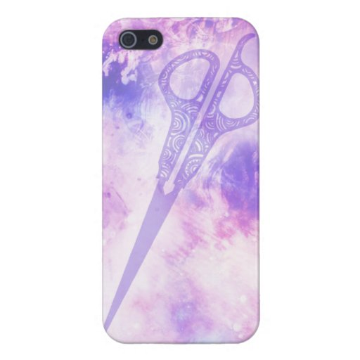 Hair stylist galaxy shears scissors case purple iPhone 5 cover