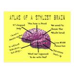 "Hair Stylist Gifts ""Atlas of a Stylist Brain"" Postcard"