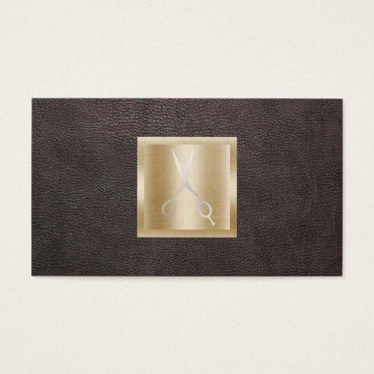 Hair Stylist Gold Scissor Logo Classy Leather Business Card