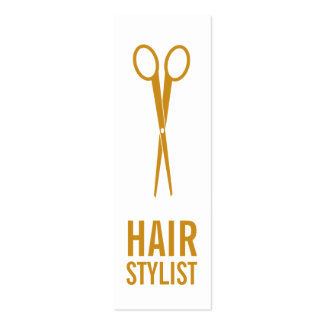 Hair Stylist - Gold Scissors Pack Of Skinny Business Cards