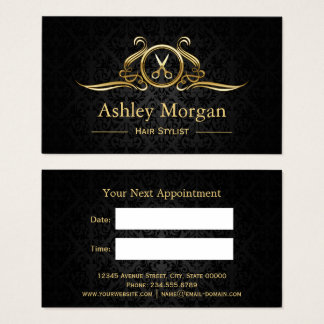 Hair Stylist Gold Scissors Hair Salon Appointment Business Card